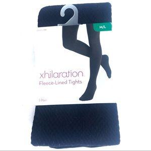 XHILARATION Fleece Lined Tights Black Diamond M/L